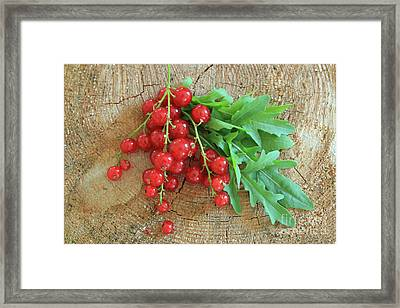 Summer, Red Berries And Rucola On Wooden Board Framed Print