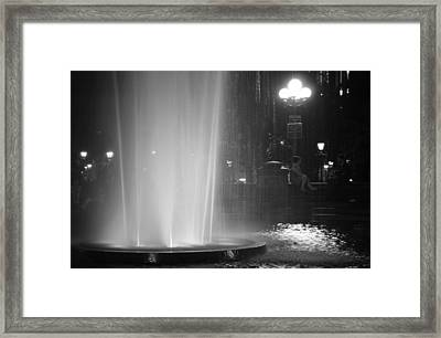 Summer Romance - Washington Square Park Fountain At Night Framed Print