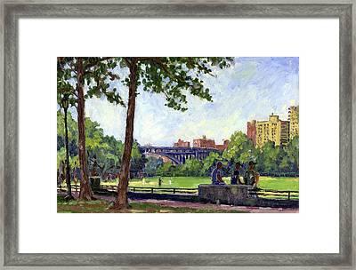 Summer Shade Baseball Fields At Inwood Nyc 8x12 Plein Air Impressionist Oil On Panel Framed Print