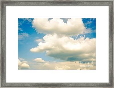 Summer Sky Blue Sky White Clouds Framed Print
