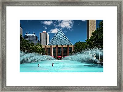 Framed Print featuring the photograph Summer Splash Downtown Edmonton by Darcy Michaelchuk