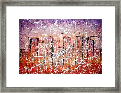 Summer Squall Cityscape Framed Print