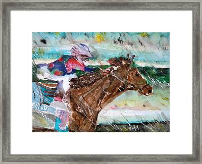 Summer Squall Horse Racing Framed Print by Mindy Newman