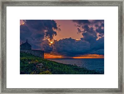 Summer Squall St Ives. A Summer Storm Passes Along The Cornish Coast At St Ives. A  Framed Print