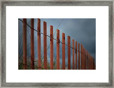 Summer Storm Beach Fence Framed Print by Laura Fasulo
