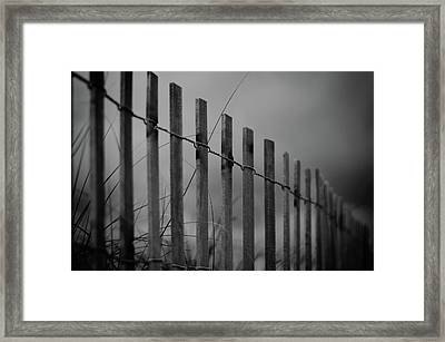 Summer Storm Beach Fence Mono Framed Print by Laura Fasulo