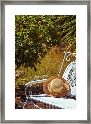 Summer Straw Hat Framed Print