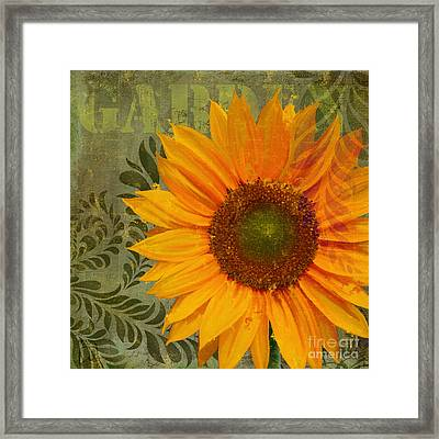 Summer Sun II Afternoon Sunflower Garden Framed Print by Tina Lavoie