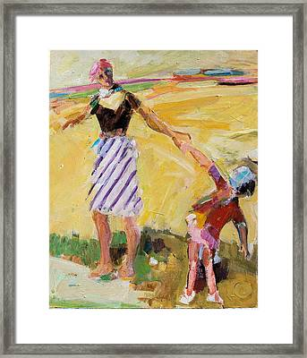 Framed Print featuring the painting Summer Sun  Mother And Child by Diane Ursin