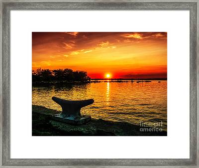 Summer Sunset At The Riverview Framed Print