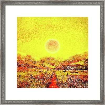 Framed Print featuring the digital art Summer Sunset Field - Trail In Marin California by Joel Bruce Wallach