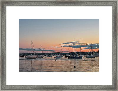 Summer Sunset In Boothbay Harbor Framed Print