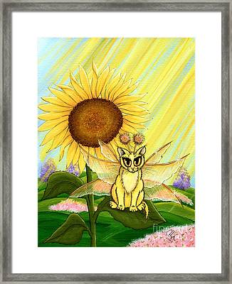 Framed Print featuring the painting Summer Sunshine Fairy Cat by Carrie Hawks