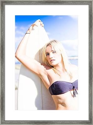 Summer Surfing Woman Framed Print