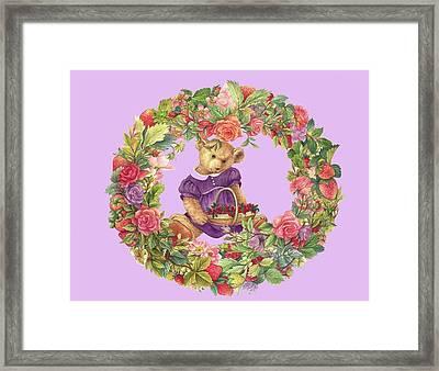 Summer Teddy Bear With Roses Framed Print