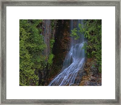 Summer Waterfall In North Cascades Framed Print