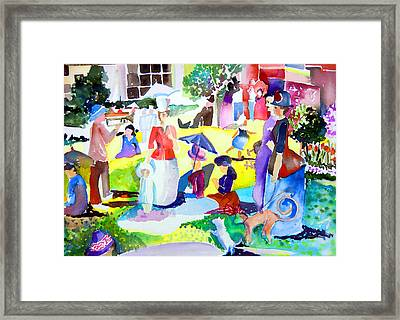 Summer With In The Park With George Framed Print by Mindy Newman