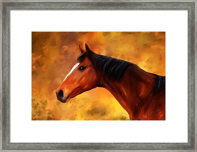 Summers End Quarter Horse Painting Framed Print