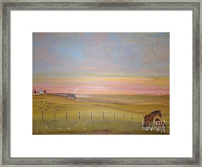 Summer's Prairie Sunset Framed Print