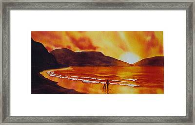 Summers-sunset Framed Print by Nancy Newman