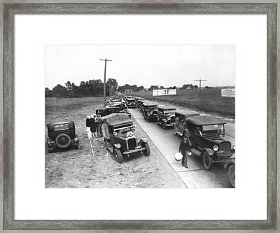 Summertime Country Traffic Jam Framed Print by Underwood Archives