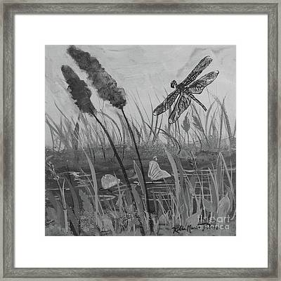 Framed Print featuring the painting Summertime Dragonfly Black And White by Robin Maria Pedrero