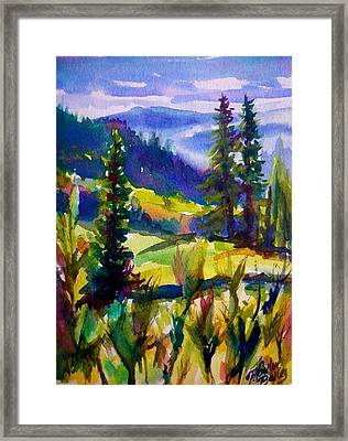 Summertime View From Nelson Sold Original Prints Available Framed Print by Therese Fowler-Bailey