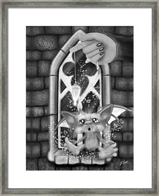 Summoned Pet - Black And White Fantasy Art Framed Print