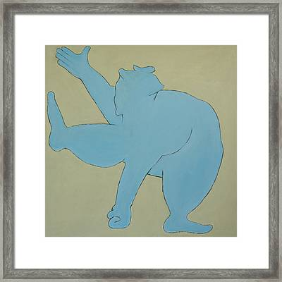 Sumo Wrestler In Blue Framed Print by Ben Gertsberg