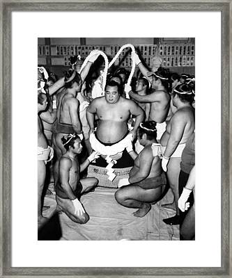 Sumo Wrestlers In Japan. Ca 1950s Framed Print by Everett