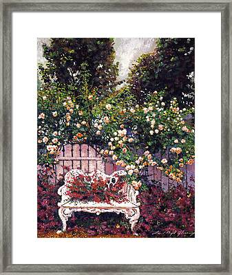 Sumptous Cascading Roses Framed Print by David Lloyd Glover