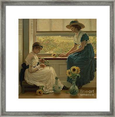 Sun And Moon Flowers Framed Print by George Dunlop Leslie