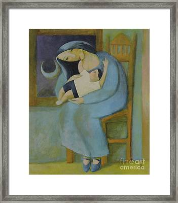 Framed Print featuring the painting Sun And Moon by Glenn Quist