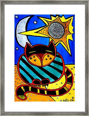 Sun And Moon - Honourable Cat - Art By Dora Hathazi Mendes Framed Print by Dora Hathazi Mendes