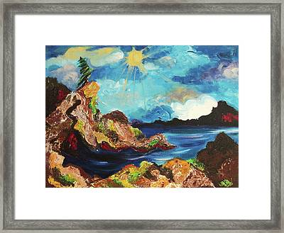 Sun And Rocks Framed Print by Suzanne  Marie Leclair