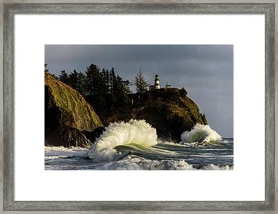 Sun And Surf With Lighthouse Framed Print
