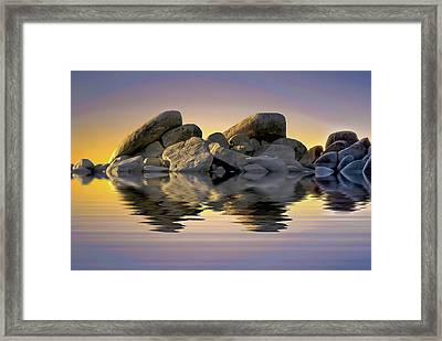 Sun Bathed Rocks Framed Print
