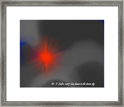 Sun Beam In The Storm Sky Framed Print by Dr Loifer Vladimir