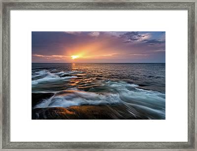 Sun Beams Halibut Pt. Rockport Ma. Framed Print by Michael Hubley