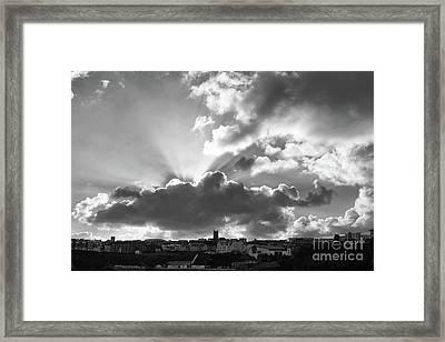 Framed Print featuring the photograph Sun Beams Over Church by Nicholas Burningham