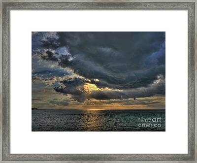 Sun Breaking Through Clouds In Margate Harbour Uk Framed Print