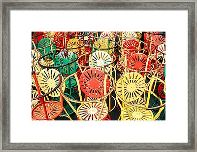 Sun Burst Chairs Stacked Framed Print