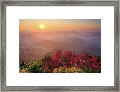 Sun Burst, Cherry Blossoms And Mountain Layers Framed Print by Samyaoo