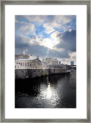 Sun Burst Over The Fairmount Water Works Framed Print