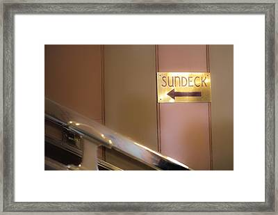 Sun Deck This Way Signage Framed Print by Thomas Woolworth