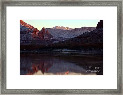 Framed Print featuring the photograph Sun Down At Fisher Towers by Adam Jewell