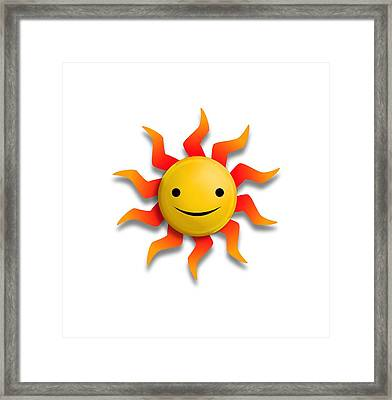 Framed Print featuring the digital art Sun Face No Background by John Wills