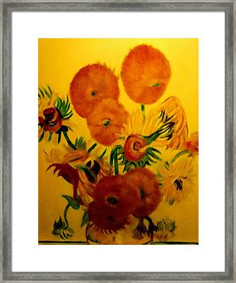 Sun Flowers Copy Framed Print