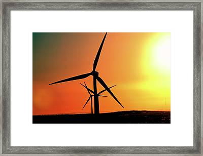 Sun Glare Upon Alberta Windfarm Framed Print by Mark Duffy