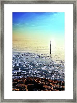 Sun Going Down In Calm Frozen Lake Framed Print